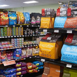 Cat food aisle at Friendly Pets